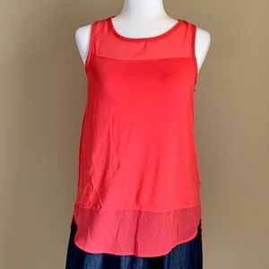 Vince Camuto Mixed Media Coral Tank, Size XS